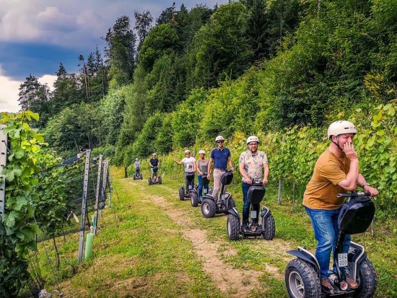 Segway Fahrer im Weingarten in Leutschach an der Weinstrasse