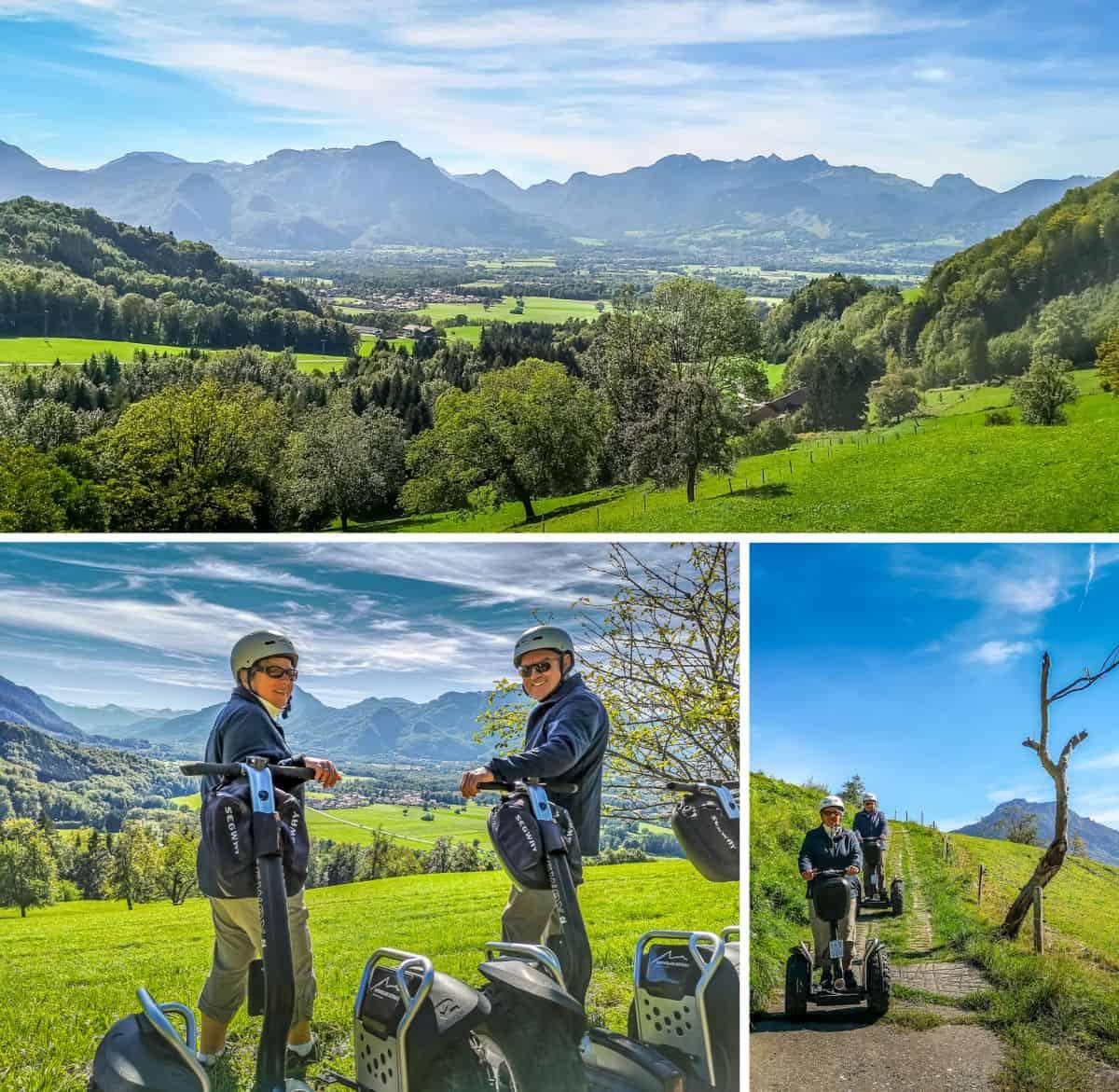 Segway Fahrer mit Blick ins Inntal, im Hintergrund Berge
