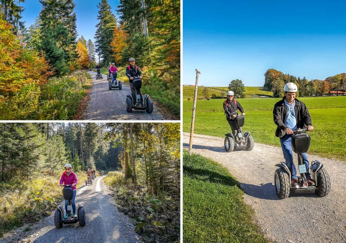 Segway Fahrer im Herbstwald