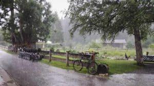 Gewitterregen und Segways bei Biergarten
