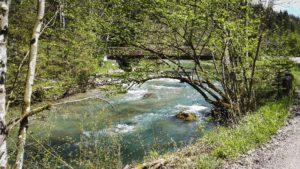 grünes klares Wasser der Leitzach mit Brücke