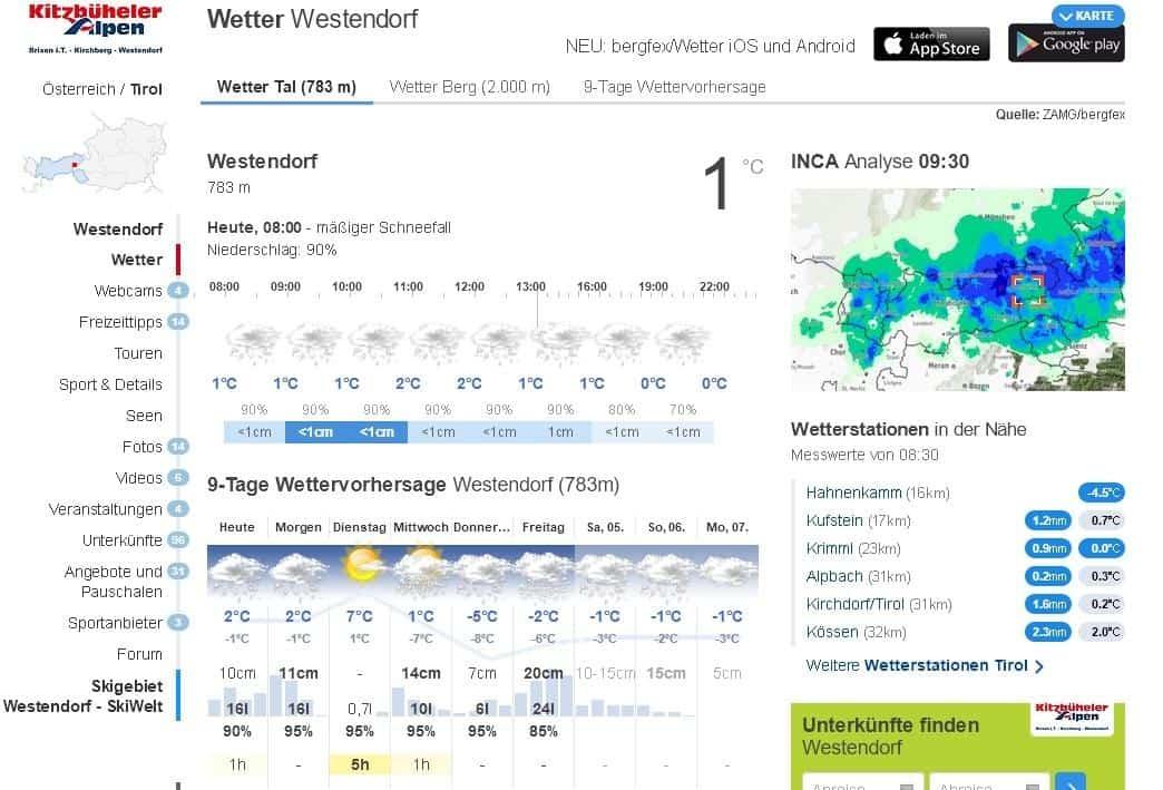 Wetterbericht mit starkem Schneefall